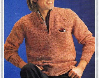 475603adc8be vintage mens sweater knitting pattern pdf mens button neck jumper 36-44