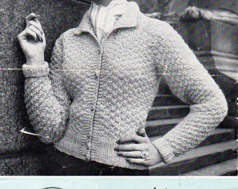 """vintage ladies cardigans knitting pattern pdf womens fitted jacket collar 34-38"""" aran worsted 10ply womens knitting pattern pdf download"""