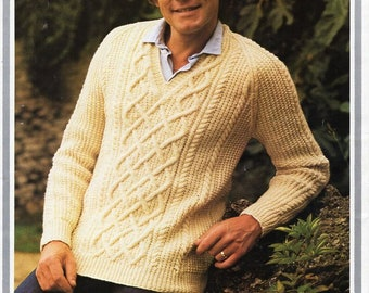 938fda36cf98d mens aran sweater knitting pattern pdf cable jumper v neck vintage 70s  34-42