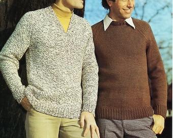 5d88af2c857611 Vintage mens classic sweater knitting pattern PDF mens v or round neck  jumper 36-46