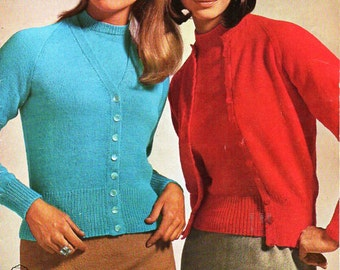 """womens 3ply 4ply twin set knitting pattern pdf ladies cardigan sweater fitted  34-38"""" 3 ply 4 ply sock sports pdf instant download"""