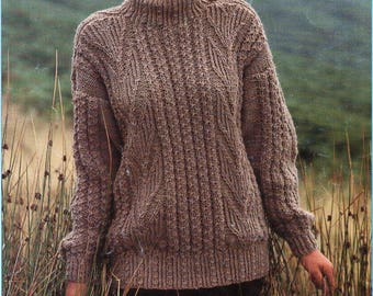 306d2b21d8f02 womens sweater knitting pattern pdf ladies jumper crew neck 32-40