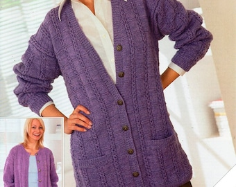 c52d11e599ac3 womens cardigan knitting pattern pdf download ladies long loose fit jacket  larger sizes 32-54
