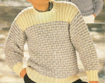 d8bf032484a56c mens sweater knitting pattern PDF mens chunky sweater crew neck jumper  36-44