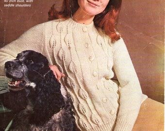 b1d27ce62 vintage womens cardigan knitting pattern pdf ladies leaf pattern jacket  33-40