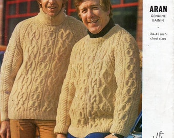 bcfbe9ad87193 vintage mens aran sweater knitting pattern pdf mans cable jumper 34-42