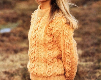 9b0a6a2a4 womens aran sweater knitting pattern pdf ladies cable jumper bobble stitch  32-42