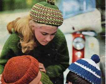 324e2b0ac31 vintage hat balaclava knitting pattern pdf womens mens caps DK light  worsted 8ply   chunky bulky pdf instant download