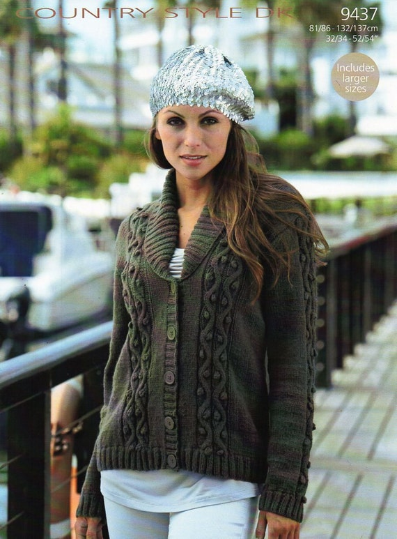 Womens Cardigan Knitting Pattern Pdf Ladies Shawl Collar Roll Etsy