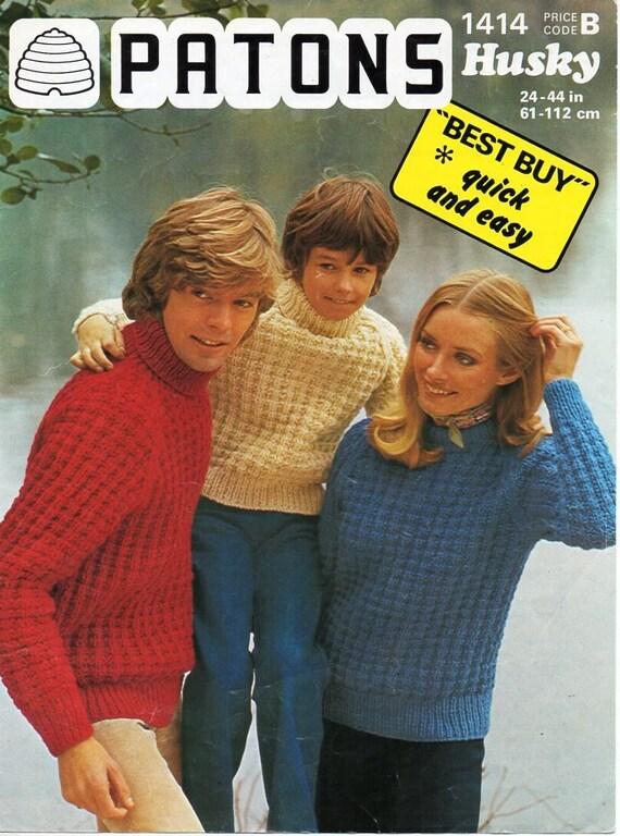 2e220a06ca24e vintage womens mens chunky sweater knitting pattern pdf ladies