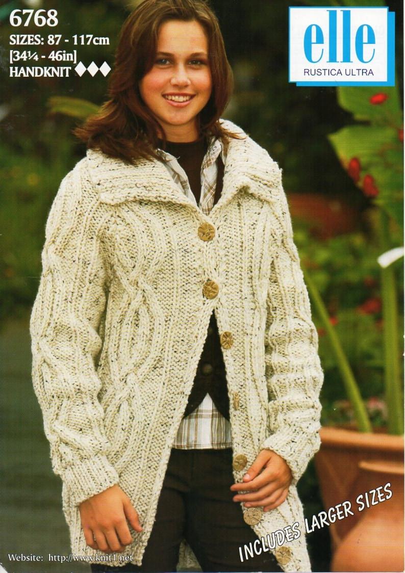 f90ea432fda46c Womens aran jacket knitting pattern pdf ladies cable collar