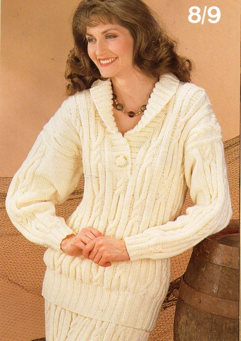 0c5d4c7c1 Womens aran sweater skirt suit knitting pattern pdf ladies