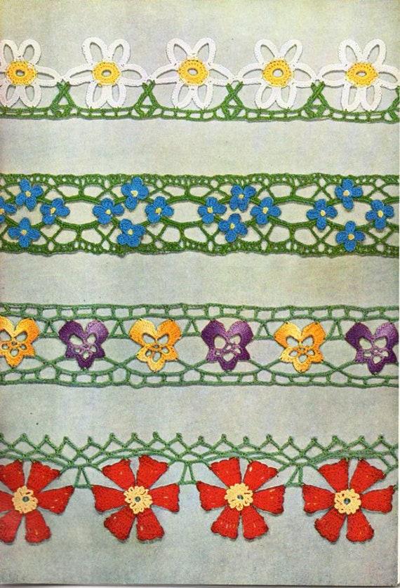 Crochet Flower Edgings Pattern Crochet Pattern Pdf Download Etsy