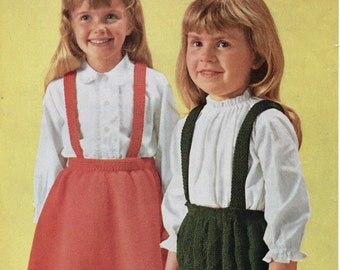 Girls Knitting Pattern Girls Skirts with Braces Girls Knitted Skirts Toddler Skirts 22-26inch waist DK Childs Patterns PDF instant download