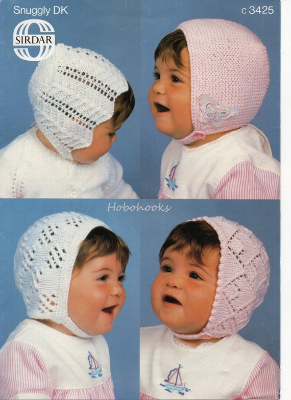 84381ea1b11 Baby lacy bonnets knitting pattern pdf download baby hats