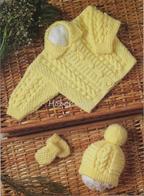 c6c587406 Baby aran jacket hat mitts Knitting Pattern pdf baby cable