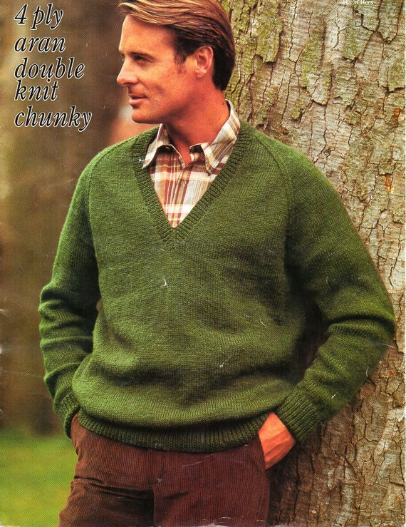Mens Classic V Neck Sweater Knitting Pattern Pdf 4ply Dk Aran Etsy