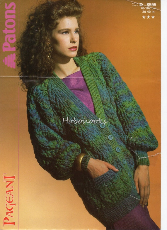0e2c5d857511 womens long cable cardigan knitting pattern PDF ladies cable