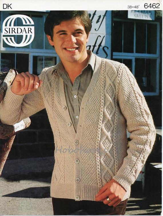 Mens Aran Cardigan Knitting Pattern Cable Jacket 38 48inch Dk Etsy