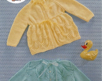 Baby matinee coat cardigan knitting pattern pdf download matinee jacket patterned yoke 18-20 inch 4 Ply PDF instant download