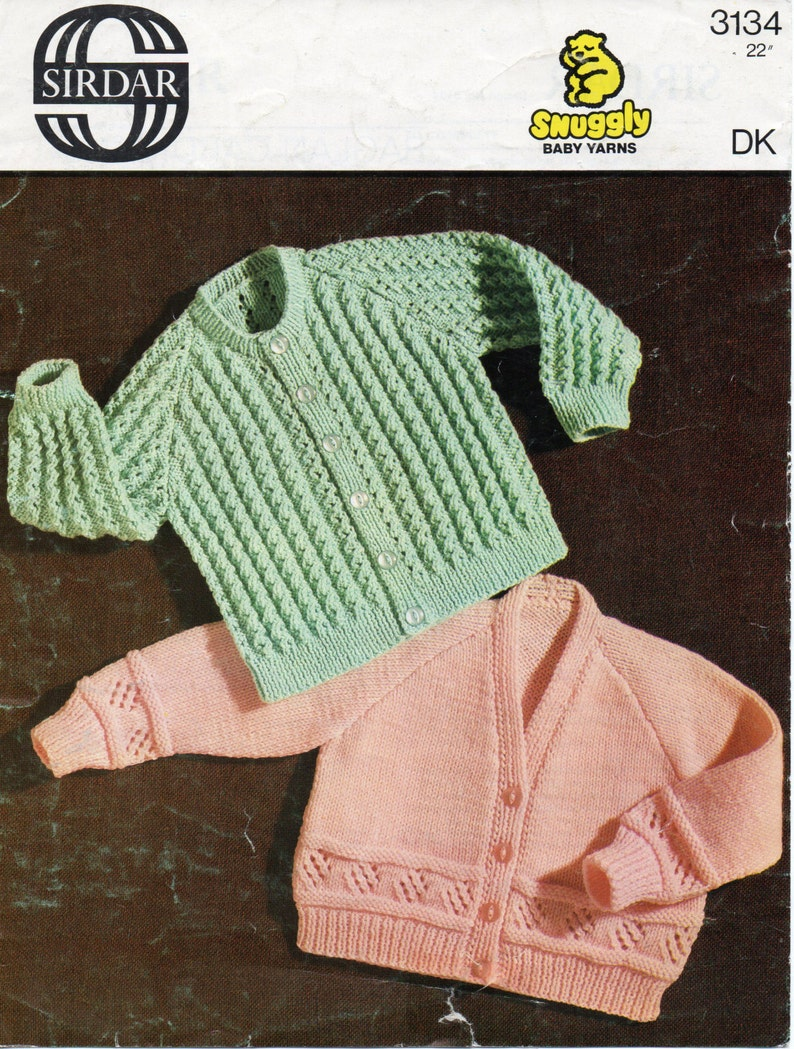 66b9b5875 vintage baby cardigan knitting pattern pdf baby jacket patterned ribbed 22  inch DK light worsted 8ply PDF instant download