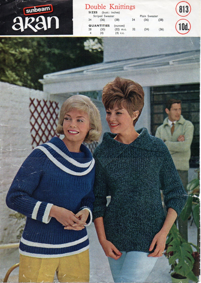 5aae96a890a7bd Vintage womens sweater knitting pattern pdf ladies boat neck