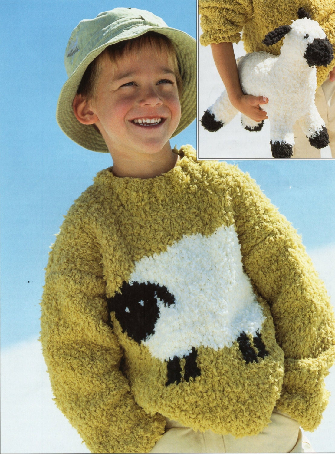 c2817e528d7 Childrens sheep sweater Knitting Pattern pdf Chenille lamb
