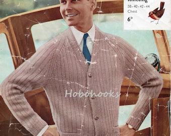 Mens Knitting Pattern Mens Ribbed Raglan Cardigan with Pockets Mens Cardigan Mens Ribbed Cardigan 38-44 inch DK / 4 Ply PDF instant download