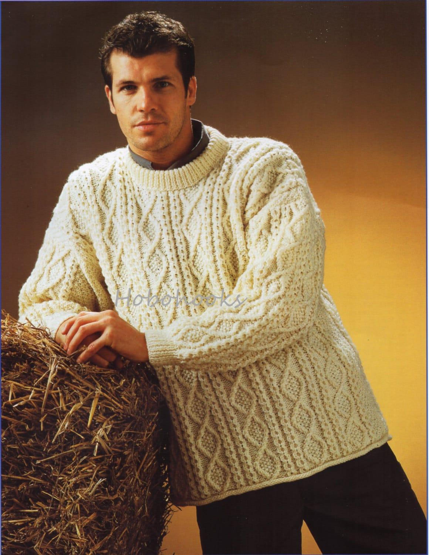 Mens Aran Sweater Knitting Pattern Pdf Larger Sizes Mens Aran Etsy