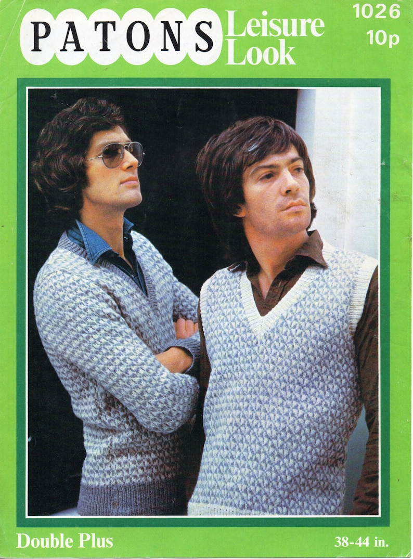 4e705d415 Vintage mens fair isle sweater slipover knitting pattern pdf