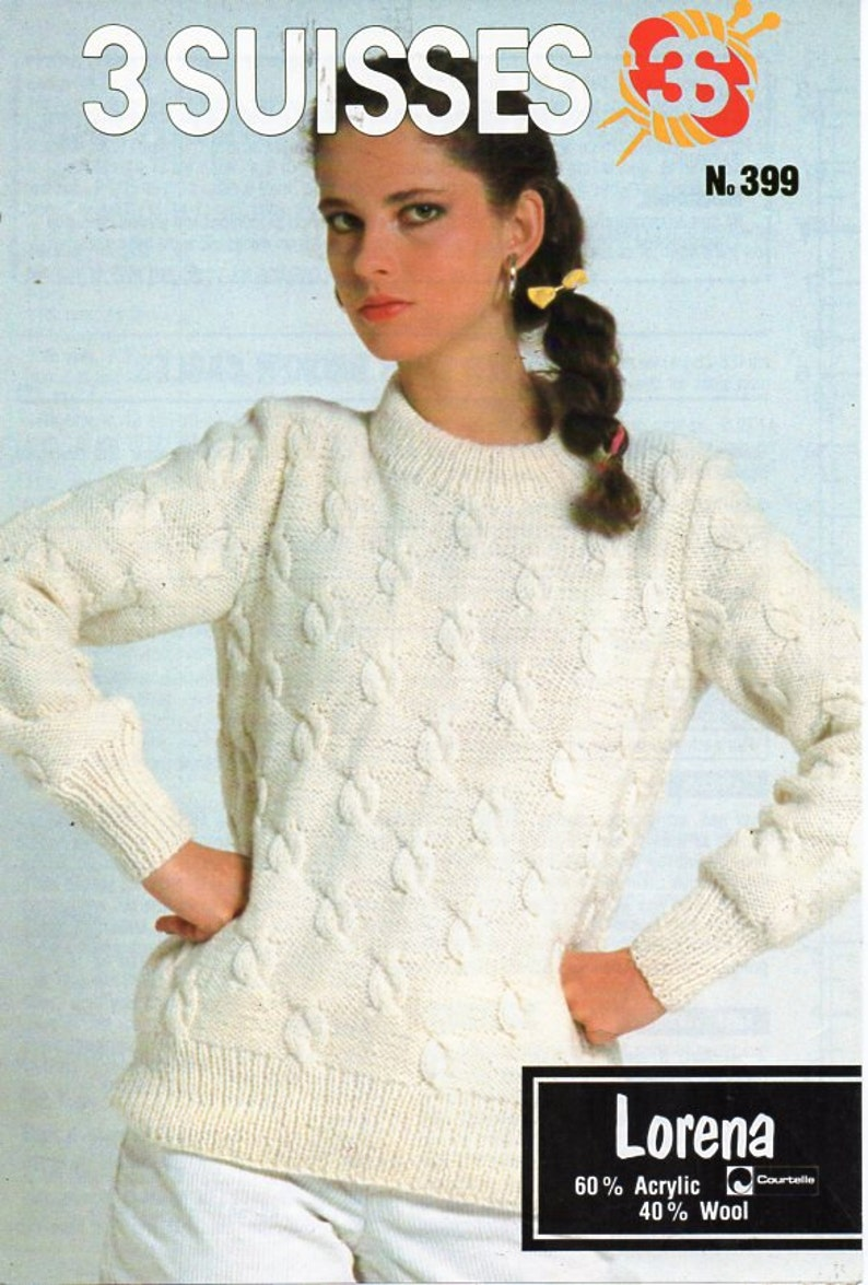 f780e34ce Vintage womens cable sweater knitting pattern pdf DK ladies