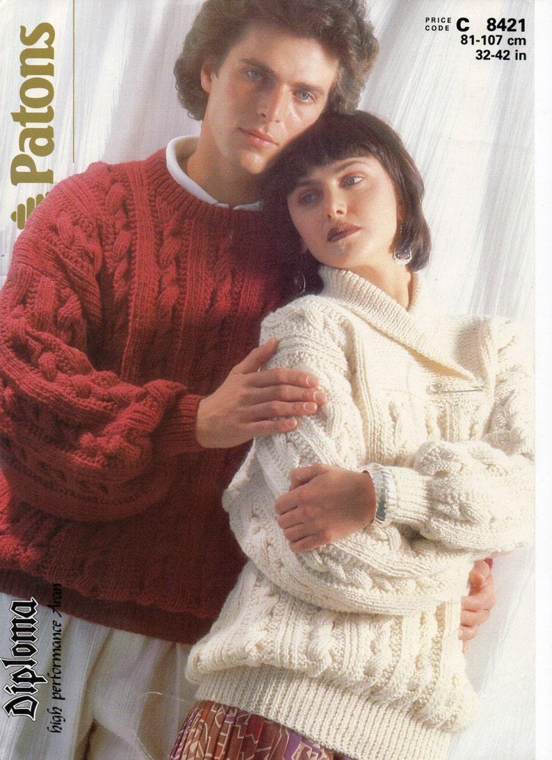 bdeb9d654 Womens mens aran sweater knitting pattern pdf ladies cable