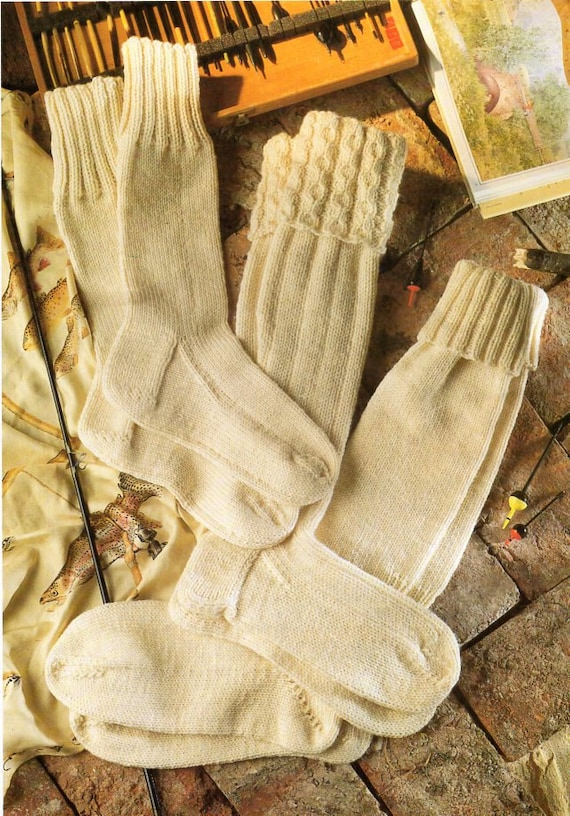 mens aran socks knitting pattern pdf kilt socks fishermens | Etsy