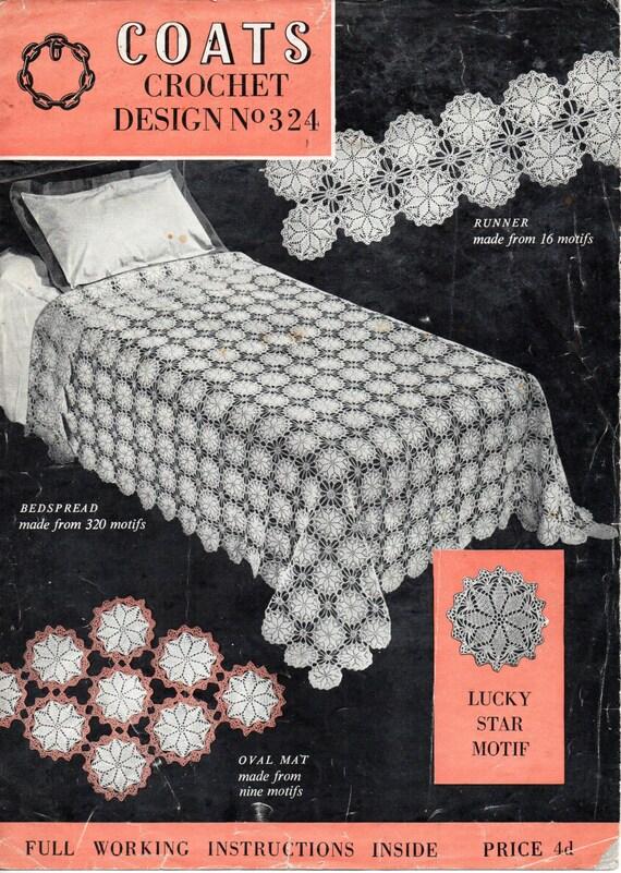 Vintage Crochet Bedspread Crochet Pattern Pdf Crochet Motif Etsy
