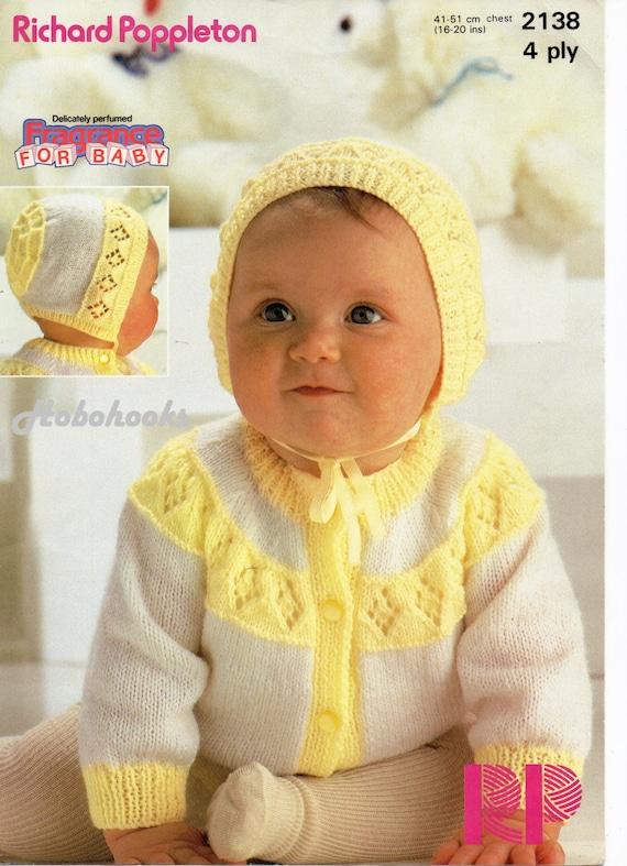 4cb0eeacb baby cardigan knitting pattern pdf 2 colour cardigan   bonnet