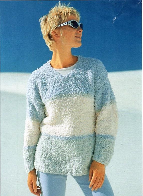 Womens Chunky Chenille Sweater Knitting Pattern Pdf Ladies