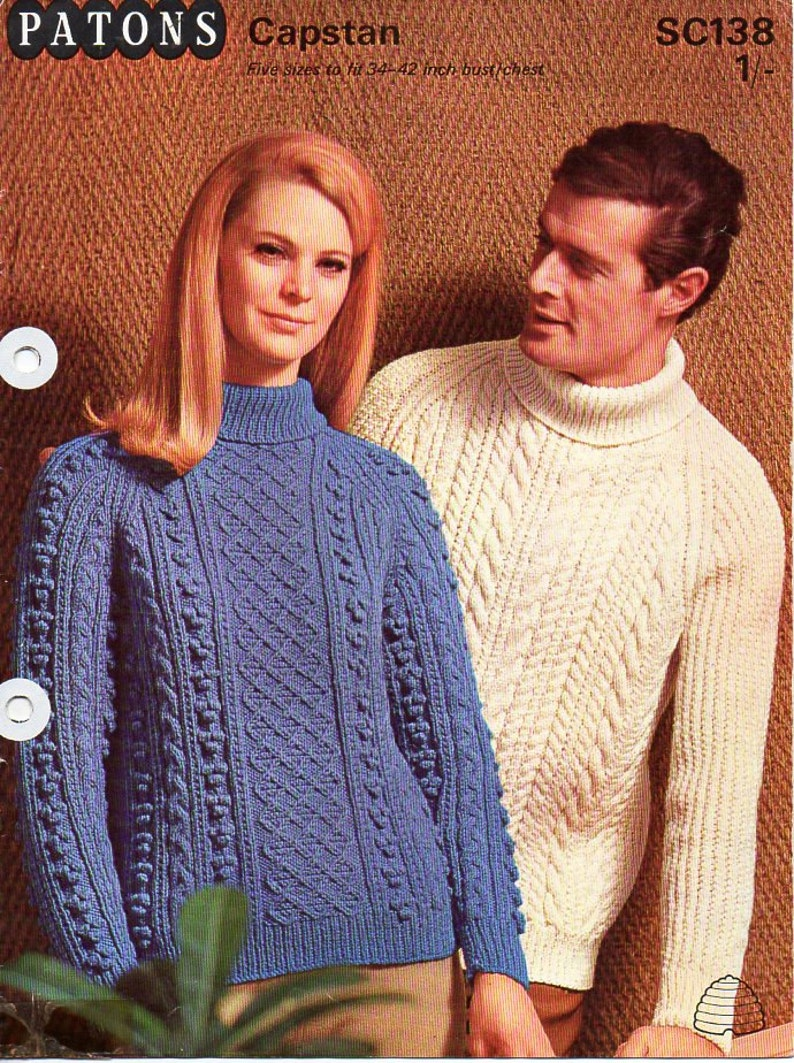 0442c2e9e4a2d Womens mens aran sweater knitting pattern pdf ladies cable Jumper Polo neck  Roll neck 34-42