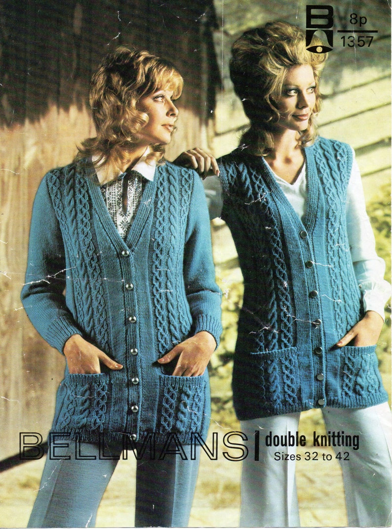 7720d4ea1 Vintage womens cable cardigan and waistcoat knitting pattern
