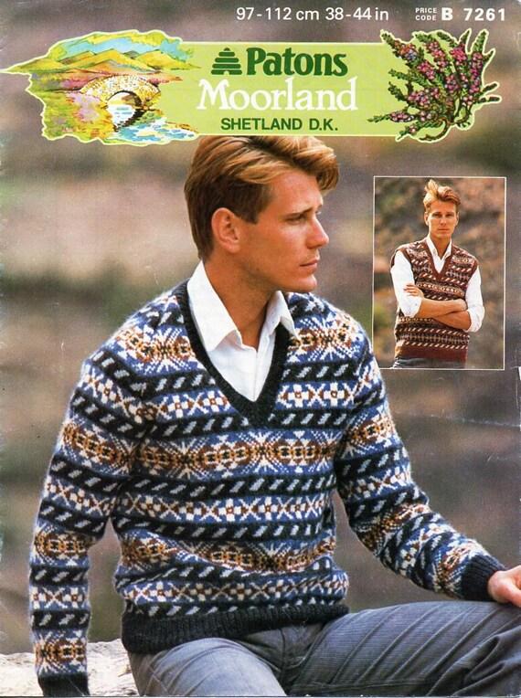 5cde6311dc4 Mens fair isle sweater slipover knitting pattern pdf download