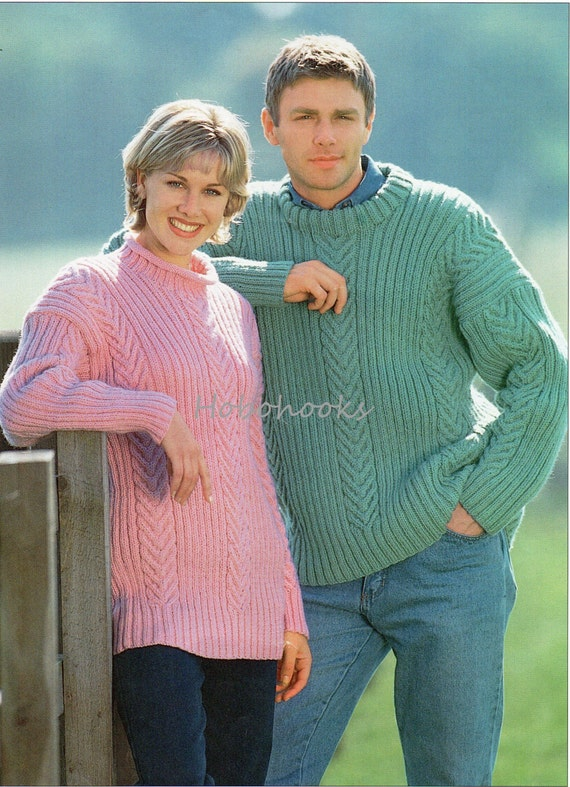 bab19f0b05db womens mens sweater knitting pattern PDF ladies cable jumper