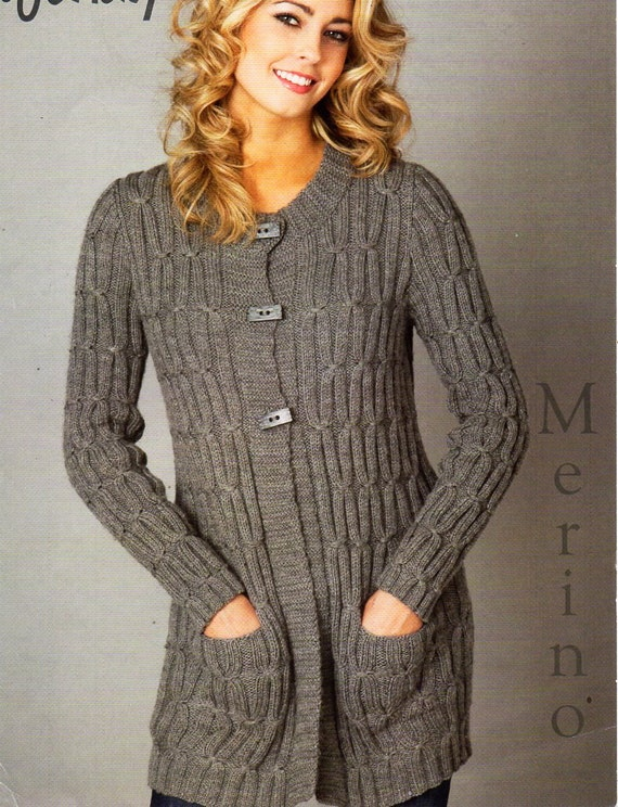 ladies long line cable cardigan knitting pattern PDF DK ...
