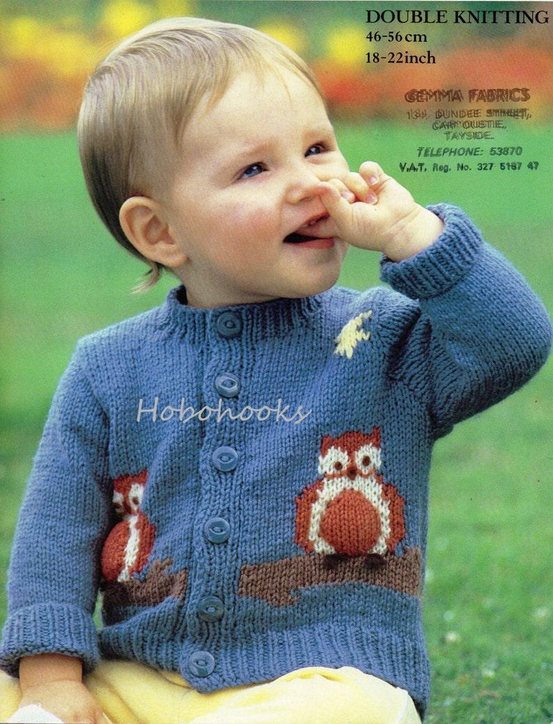 8091e723e Baby Knitting Pattern baby owl motif cardigan baby cardigan