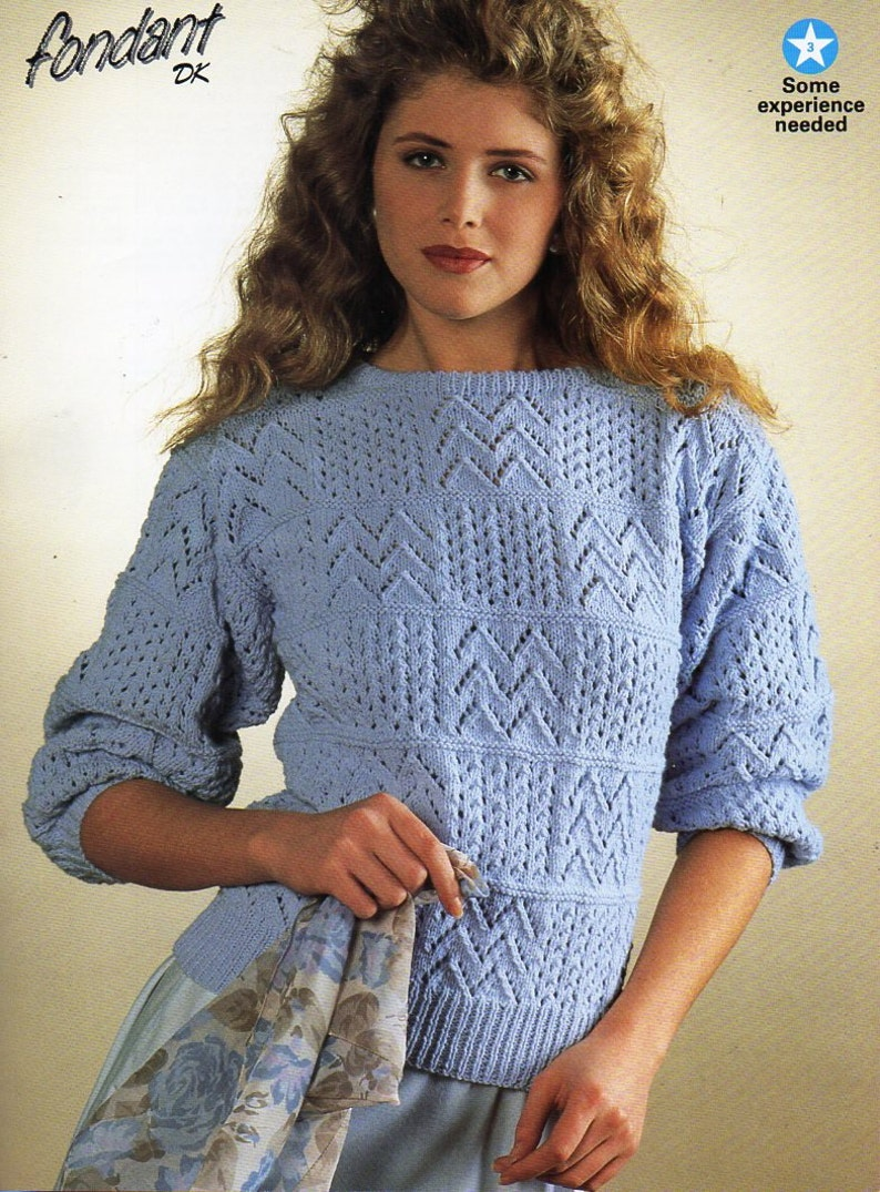d06164ec26893 Womens sweater knitting pattern PDF ladies lacy patchwork