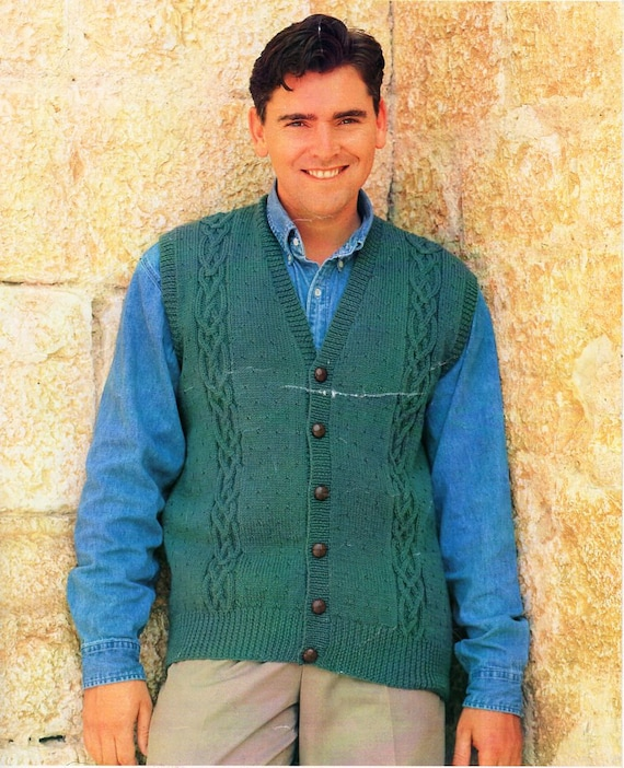 Mens Cable Waistcoat Knitting Pattern Pdf Dk Mens V Neck Vest Etsy