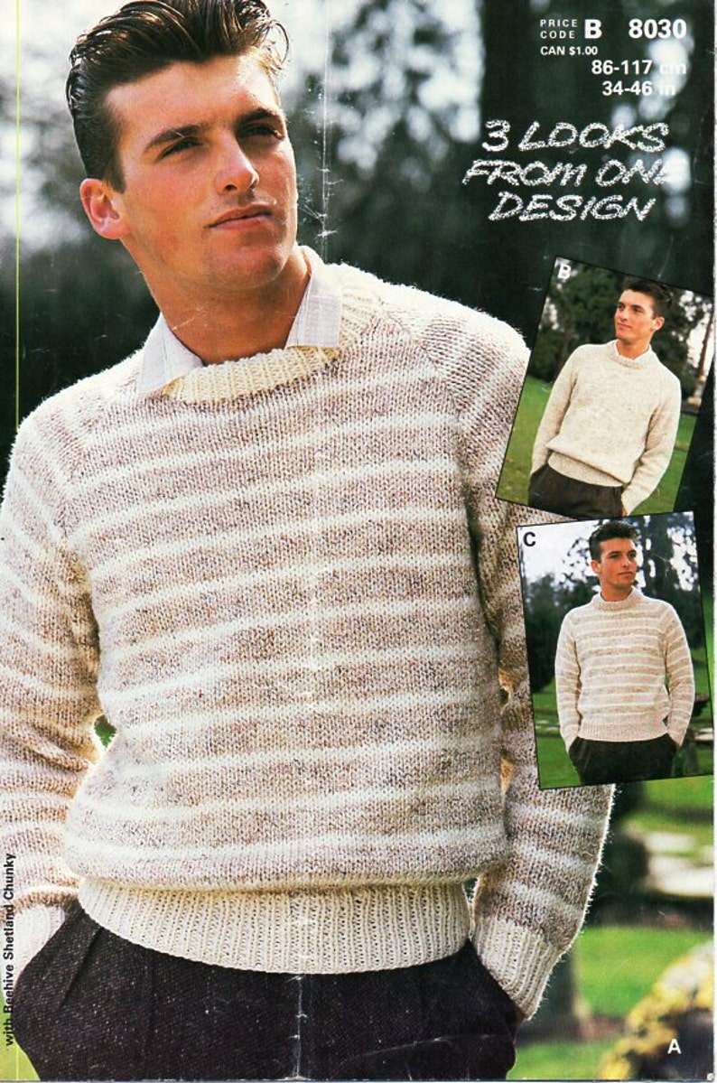 0c52c3b82ed0aa Vintage mens chunky sweater knitting pattern PDF bulky striped