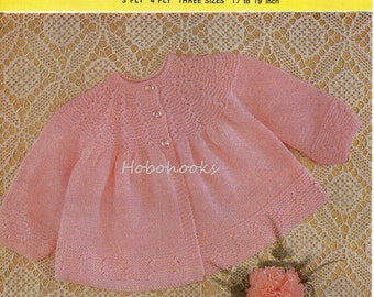 Baby Knitting Patterns Baby Matinee Coat Baby Matinee Jacket Baby Cardigan 3 Ply Matinee Coat 17-19 inch 3 Ply / 4 Ply  PDF instant download