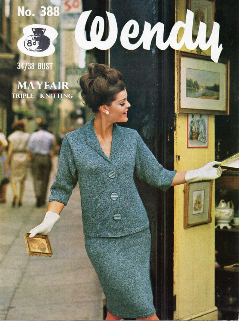 885b2096d056f9 Vintage womens jacket skirt suit knitting pattern pdf ladies | Etsy