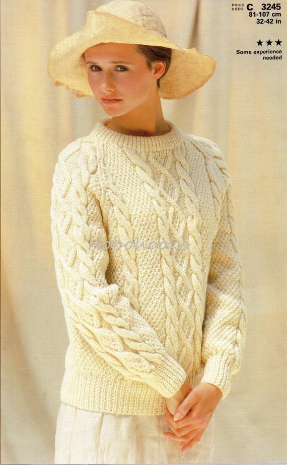 Ladies Knitting Pattern ladies aran sweater crew neck aran cable ...