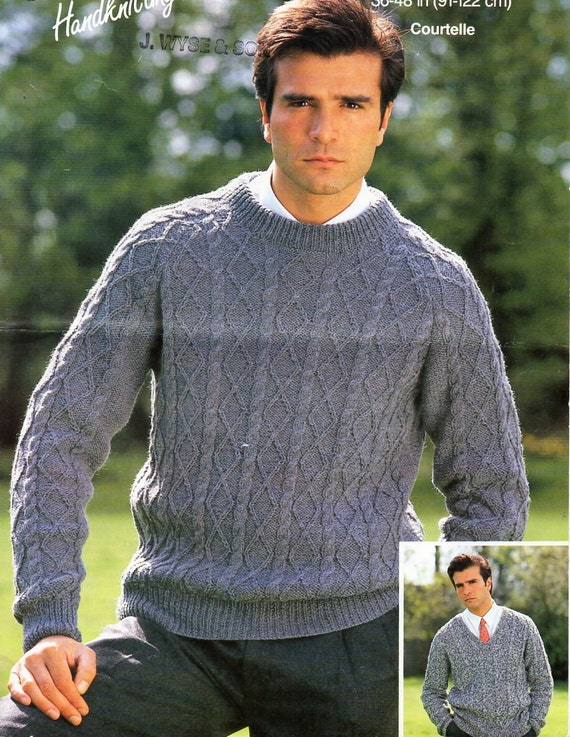 f77a184422fad mens aran sweater knitting pattern PDF DK mans cable jumpers v or round  neck 36-48 inch DK light worsted 8ply instant download