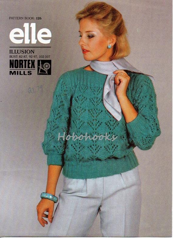 Womens Chunky Sweater Knitting Pattern Lacy Jumper Slash Neck Etsy